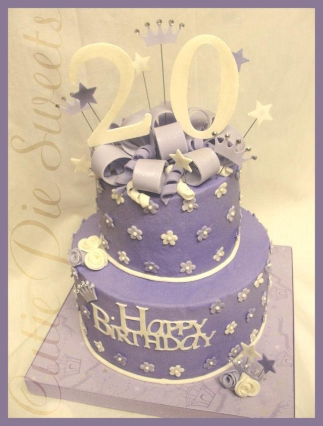 20Th Birthday Cakes 20th Birthday Cake Purple White Cakecentral