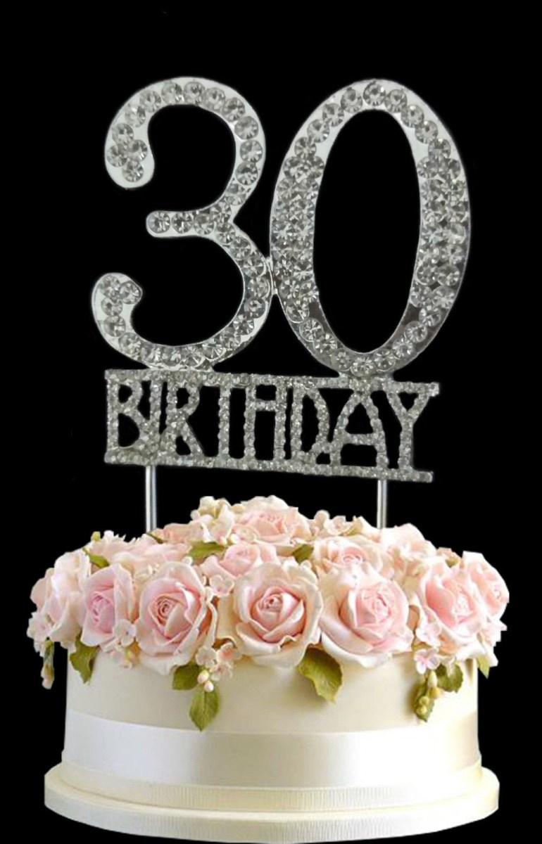30Th Birthday Cake Ideas Crystal Monogran Happy 30th Birthday Cake Topper Rhinestone Diamante