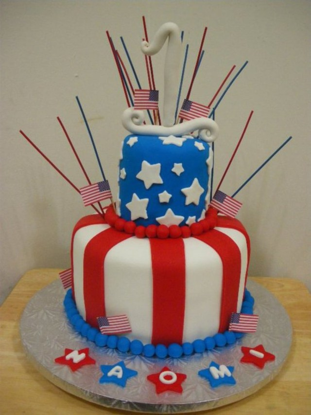 4Th Of July Birthday Cakes 4th Of July Themed 1st Birthday Cake Cakecentral