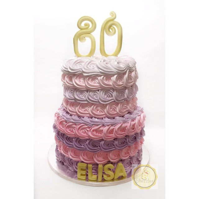 80Th Birthday Cake Shezzles Dessert In A Jar 2 Tier Rosette 80th Birthday Cake