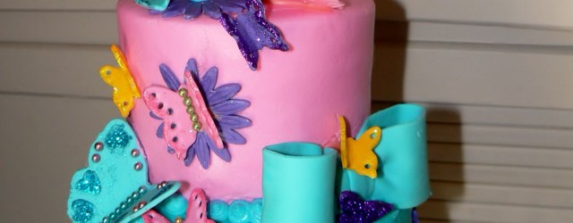 9Th Birthday Cake Julies 9th Birthday Cake With Fondant Butterflies Flowers And