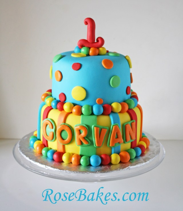 Baby Birthday Cake Bright Stripes Polka Dots 1st Birthday Cake