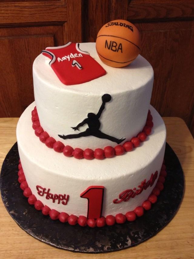 Basketball Birthday Cake Happy 1st Birthday Michael Jordan Jersey Basketball And Jumpman