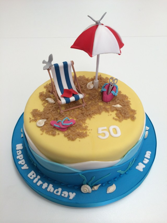 Beach Birthday Cake Cute Beach Themed Cake Complete With Sun Umbrella Deckchair And Of