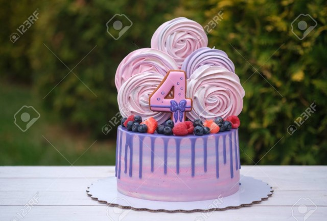 Beautiful Birthday Cake Beautiful Birthday Cake With The Number Four Fresh Berries And
