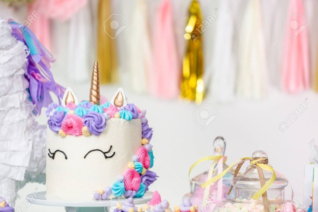 Birthday Cake Cupcakes Little Girl Party Table With Unicorn And