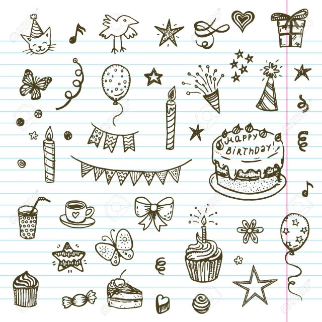 Birthday Cake Drawing Birhday Elements Hand Drawn Set With Birthday Cake Baloons