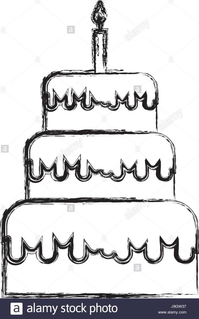 Birthday Cake Drawing Sketch Draw Birthday Cake Cartoon Stock Vector Art Illustration
