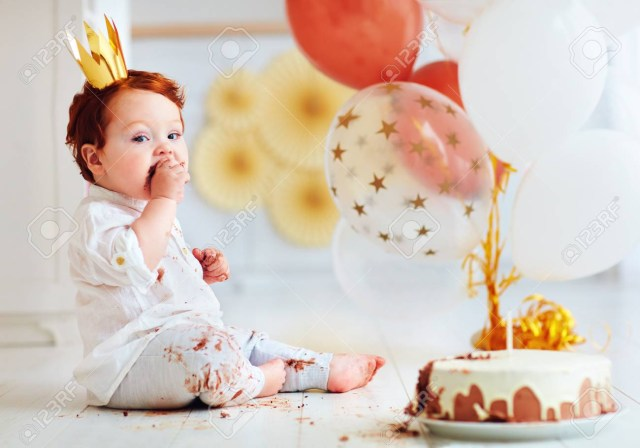 Birthday Cake Funny Funny Infant Ba Boy Tasting His 1st Birthday Cake Stock Photo