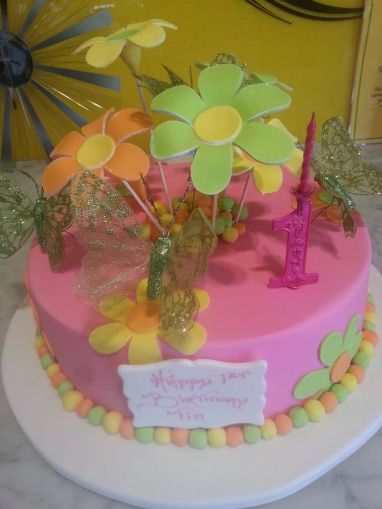 Birthday Cake Girl Single Tier Round Flowers Pink The Delicious
