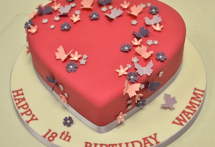 Birthday Cakes For Girls Heart Shaped Blossom And Butterfly 18th