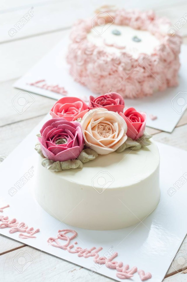 Birthday Flower Cake Butter Cream Rose Flower Cake With Word Happy Birthday Stock Photo