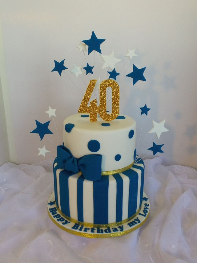 Blue And White Birthday Cake 40th Two Tier White Navy Blue And Gold Birthday Cake Birthday