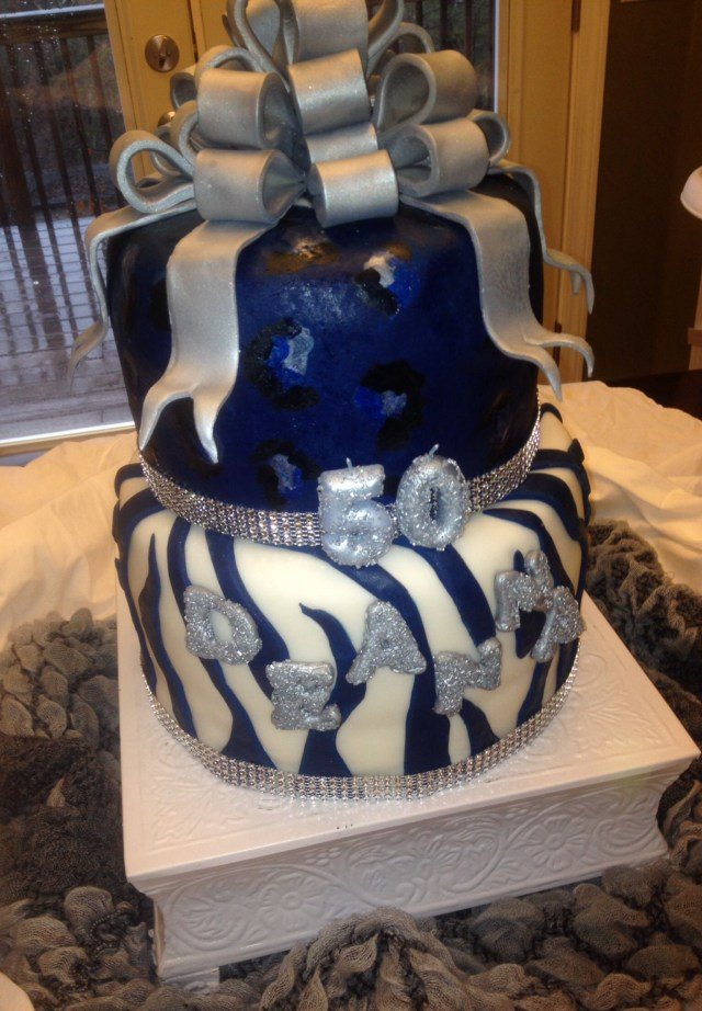 Blue And White Birthday Cake 50th Birthday Royal Blue White And Silver Zebra Cake Cake In
