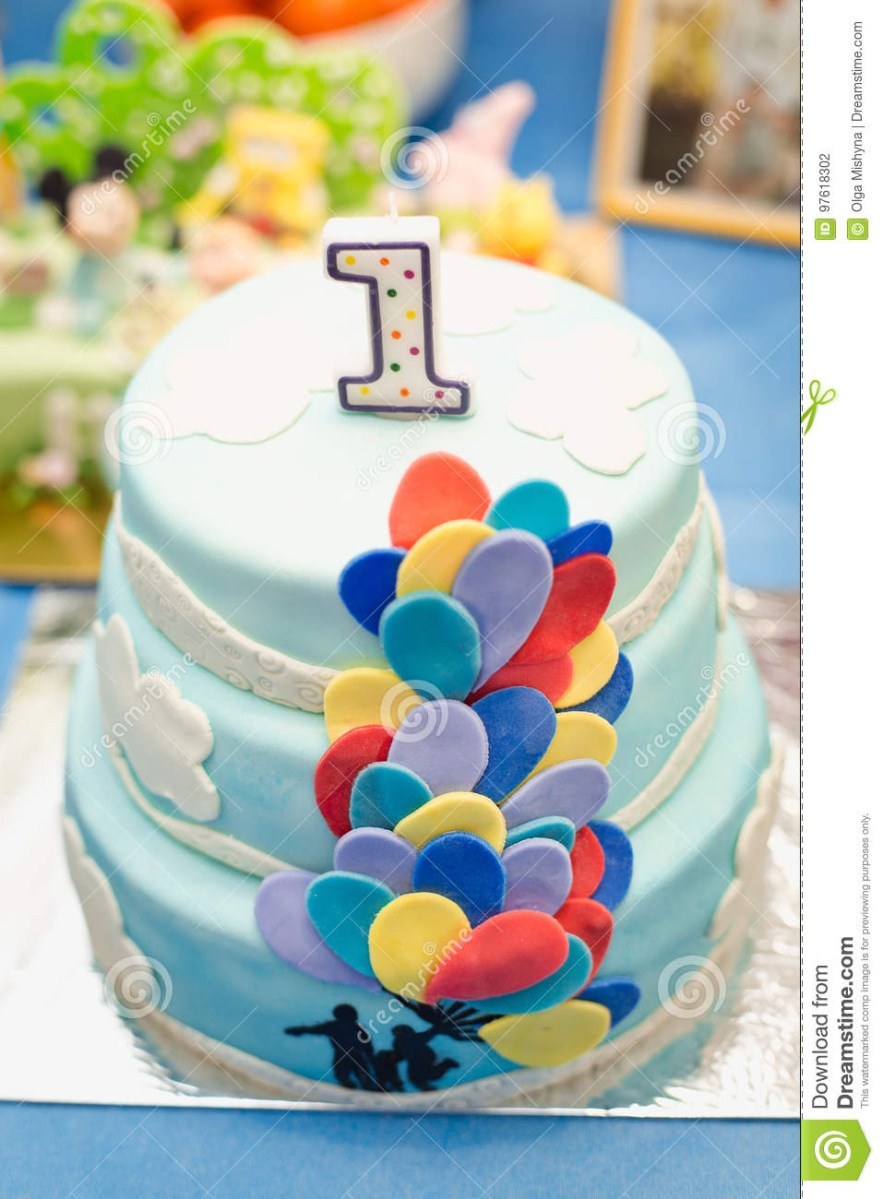 Blue And White Birthday Cake Anazing Cake For Boys First Birthday Stock Photo Image Of Colors