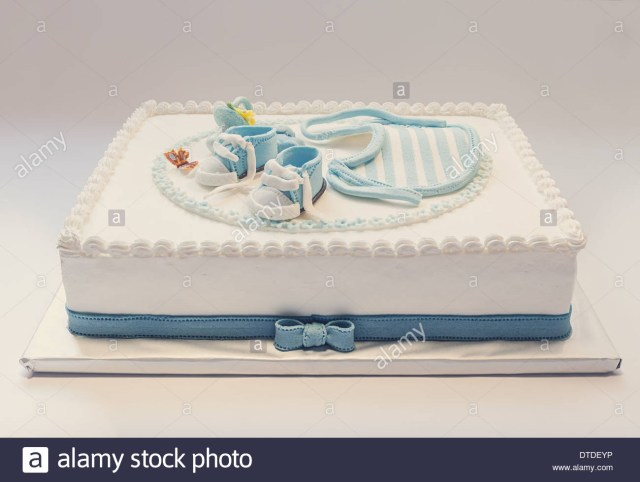 Blue And White Birthday Cake Birthday Cake For Ba Blue And White Design On Light Gray Stock