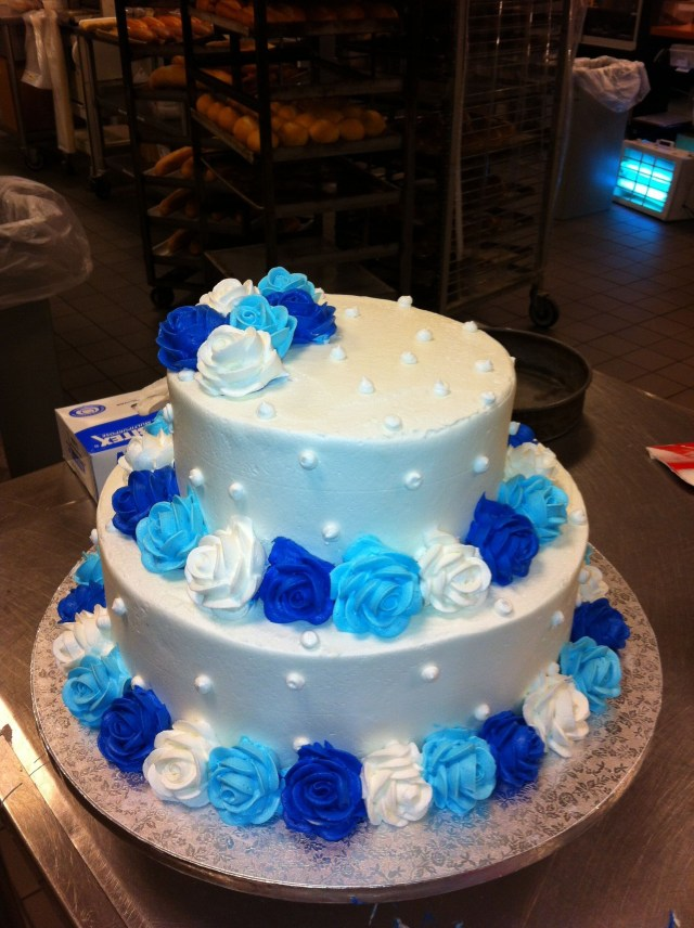 Blue And White Birthday Cake Cakes Butter Cream Wedding W Light Royal