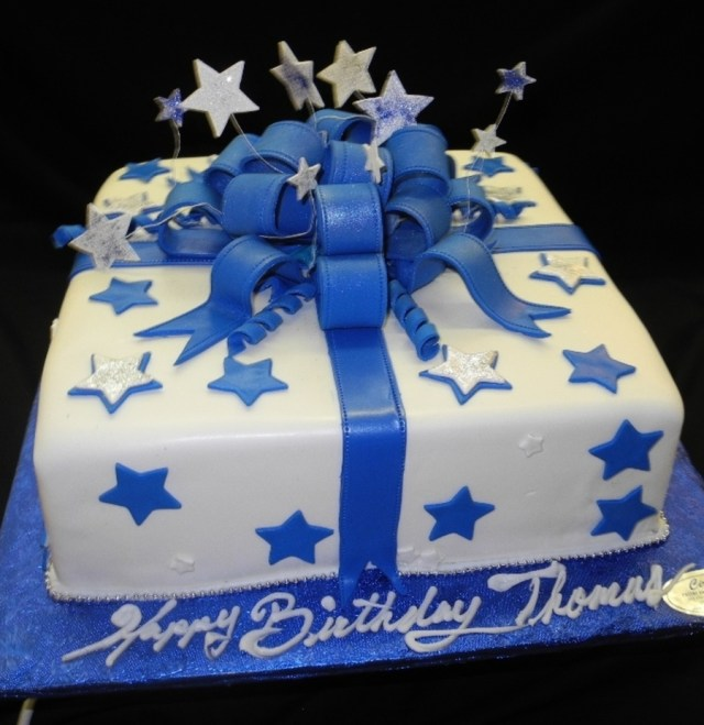 Blue And White Birthday Cake Blue And White Stars Fondant Birthday Cake Cakecentral