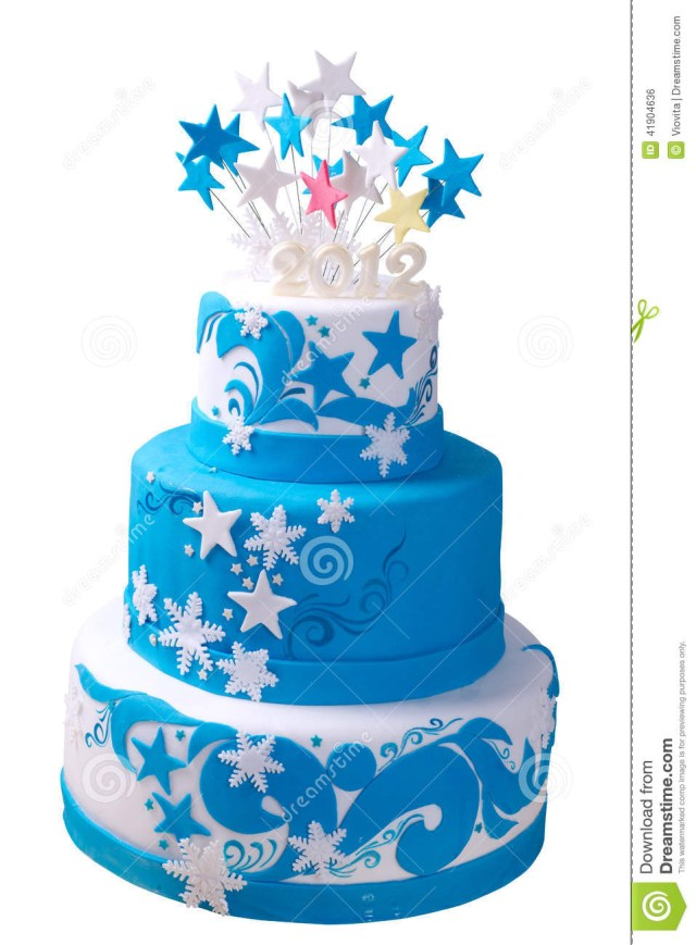 Blue And White Birthday Cake First Birthday Cake Stock Photo Image Of Candle Curled 41904636