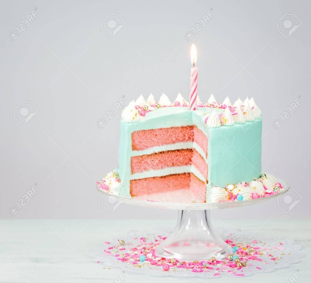 Blue Birthday Cake Pastel Blue Birthday Cake Over White Background With Pink Layers