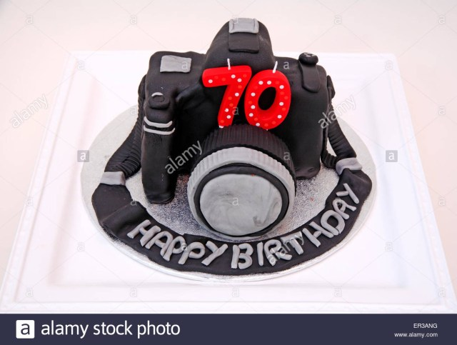 Camera Birthday Cake A Seventieth Birthday Cake In The Form Of A Camera Stock Photo