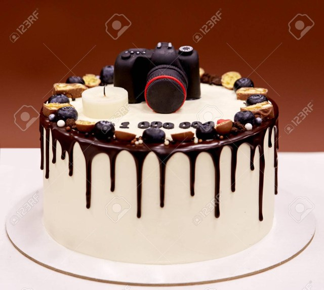 Camera Birthday Cake Photographers Birthday Cake With A Photo Camera On Top Stock Photo
