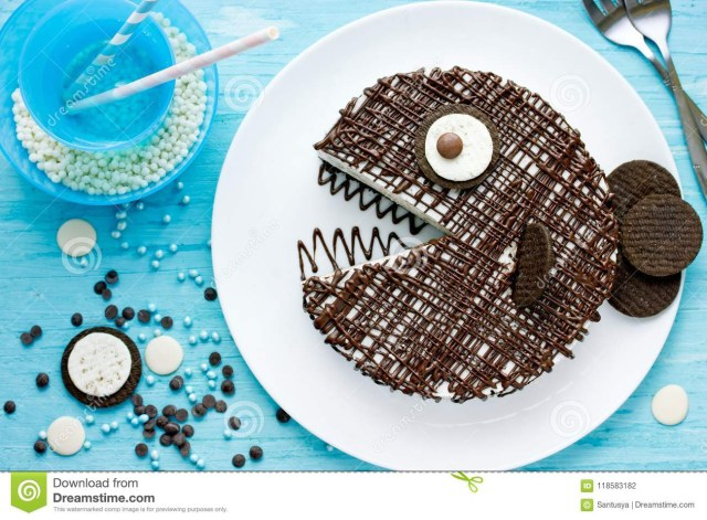 Creative Birthday Cakes Creative Birthday Cake For Kids Chocolate Fish Cake Stock Photo