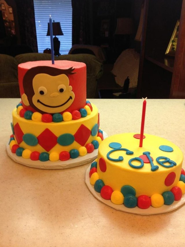 Curious George Birthday Cakes Curious George First Birthday Cake With Smash Cake Cakecentral