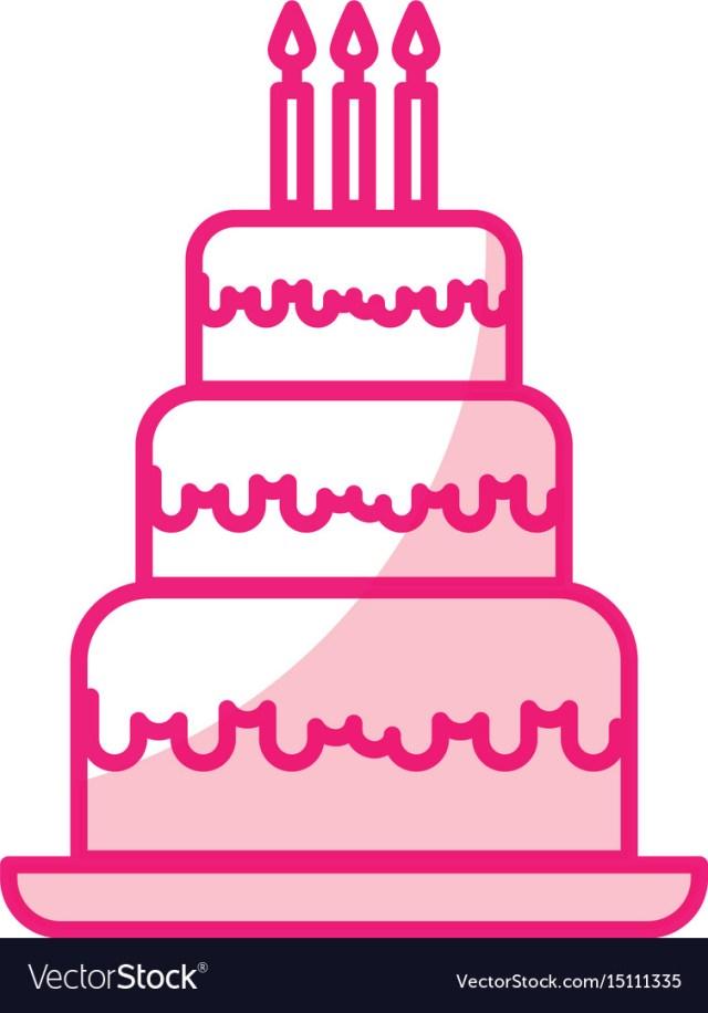 Cute Birthday Cakes Shadow Cute Birthday Cake Cartoon Royalty Free Vector Image