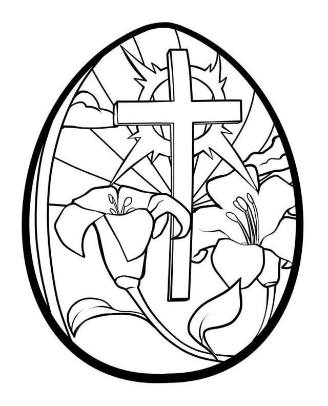Easter Egg Coloring Page Easter Egg Coloring Pages Printable Lilies And Cross Easter Egg