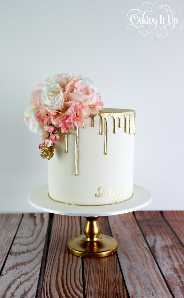 Elegant Birthday Cakes Classy And Elegant Golden Drizzle 60th Birthday Cake With A Pretty