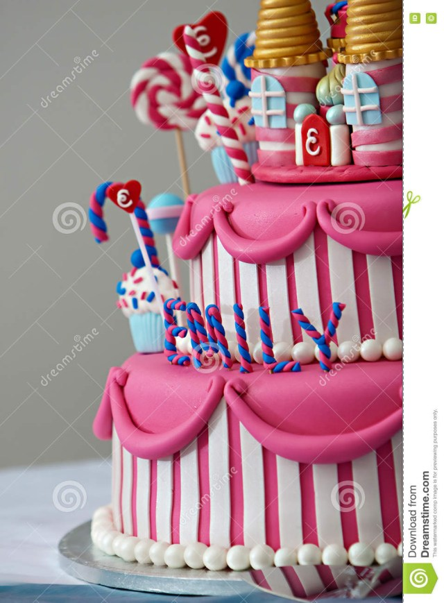 Fancy Birthday Cakes Birthday Cake Stock Image Image Of Happy Frosted Pink 69701591