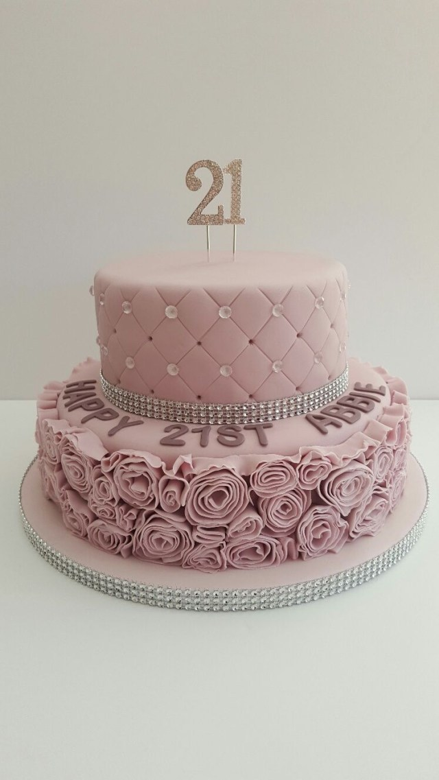 Fancy Birthday Cakes Glamorous Dusky Pink 21st Birthday Cake21 Covered In Fondant