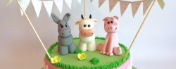 Farm Birthday Cake Girly Farm Animals Birthday Cake With Edible Cow Donkey Pig And