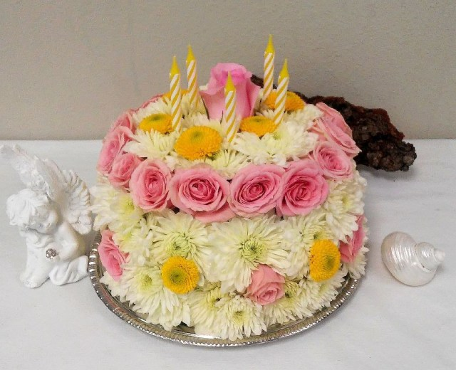 Happy Birthday Flowers And Cake Birthday Cake On A Silver Plate In Slidell La Weathers Flower Market