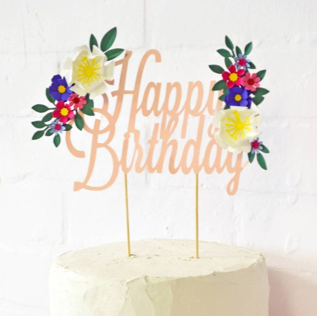 Happy Birthday Flowers And Cake Handmade Happy Birthday Paper Flower Cake Topper May Contain