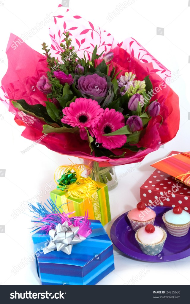 Happy Birthday Flowers And Cake Happy Birthday Flowers Fancy Cakes Presents Stock Photo Edit Now