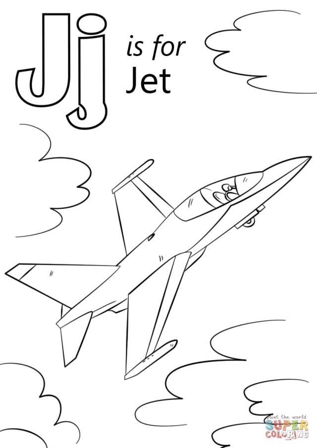 Jet Coloring Pages Letter J Is For Jet Coloring Page Free Printable Coloring Pages