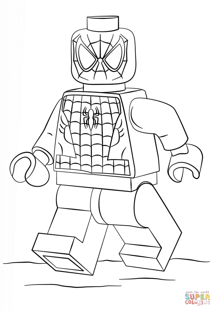 Lego Spiderman Coloring Pages Lego Spiderman Coloring Page Free