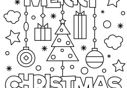 Merry Christmas Coloring Pages Merry Christmas Coloring Page Royalty Free Vector Image