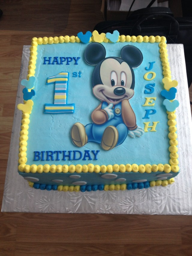 Mickey Mouse 1St Birthday Cake Mickey Mouse 1st Birthday Cake Birthday Party Time Pinterest