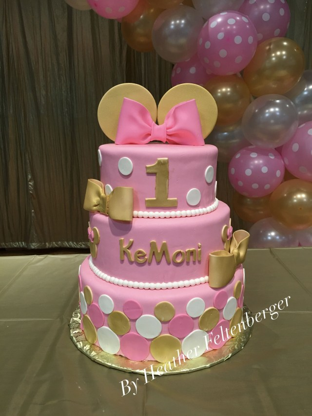 Minnie Mouse Cakes 1St Birthday Disney Minnie Mouse Pink And Gold 3 Tier 1st Birthday Cake My
