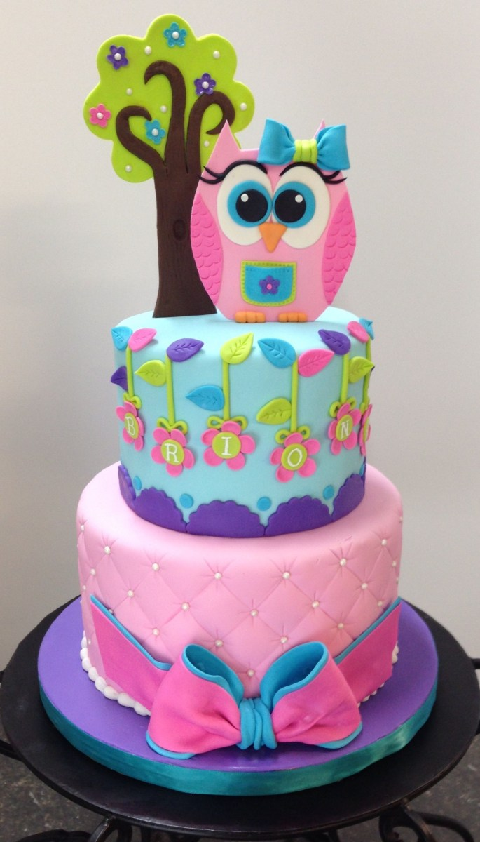Owl Birthday Cake Owl Birthday Cake Owl Tree And Bow Are Gum Paste Chloes