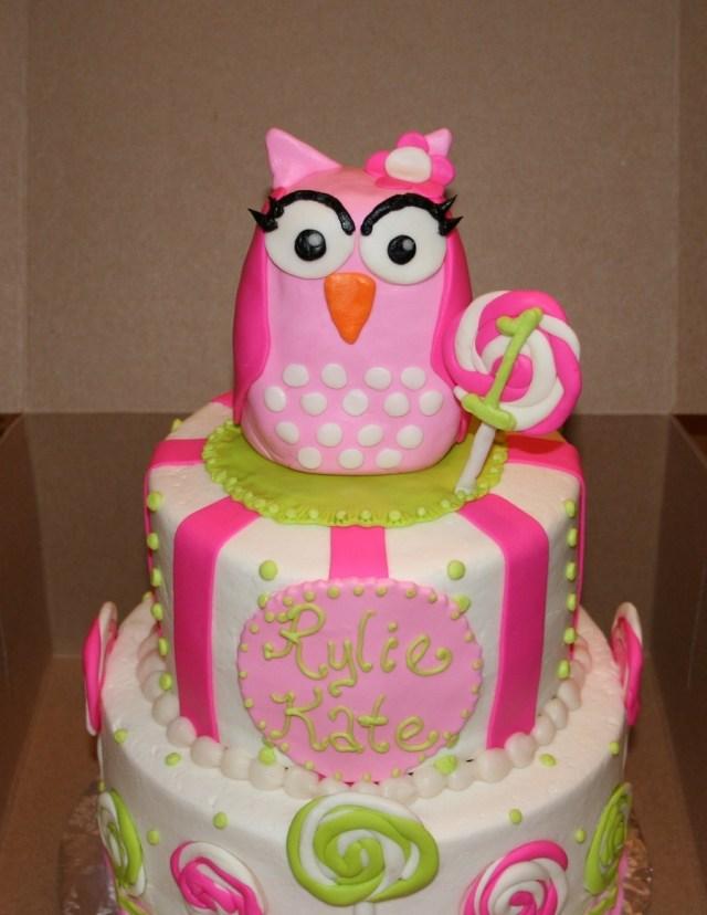 Owl Birthday Cake Sweet Little Pink Owl Birthday Cake Cakecentral