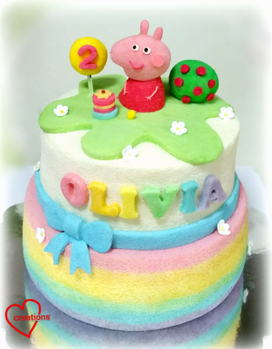 Peppa Pig Birthday Cake Loving Creations For You Rainbow Peppa Pig Birthday Tiered