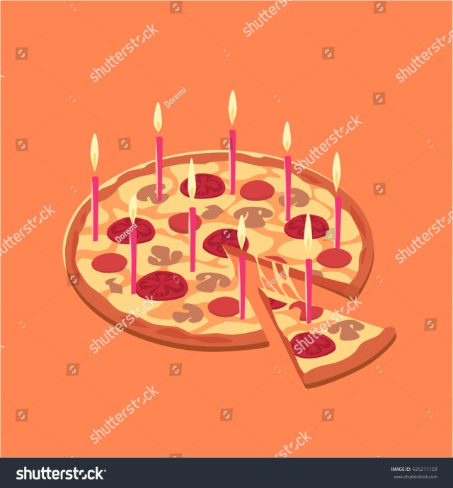 Pizza Birthday Cake Pizza Birthday Cake Concept Vector Illustration Stock Vektorgrafik