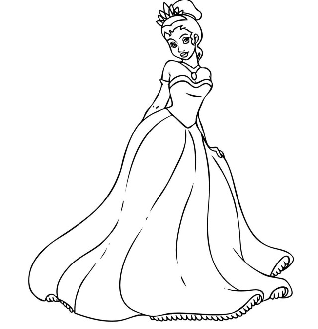 Princess And The Frog Coloring Pages Free Printable Princess Tiana Coloring Pages For Kids