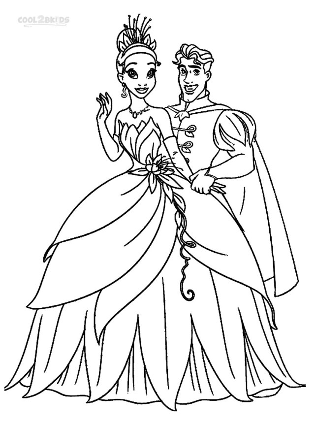 Princess And The Frog Coloring Pages Printable Princess Tiana Coloring Pages For Kids Cool2bkids