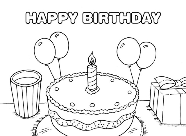 Printable Birthday Coloring Pages Free Printable Birthday Cake Coloring Pages For Kids Within