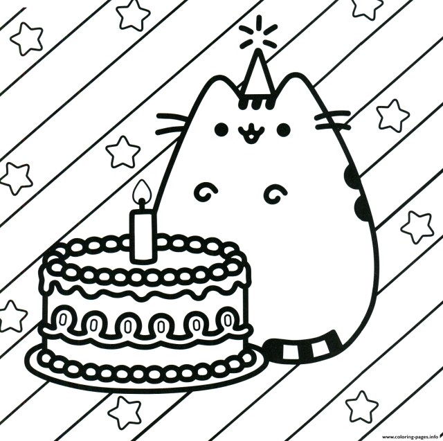 Printable Birthday Coloring Pages Pusheen Cake Happy Birthday Coloring Pages Printable